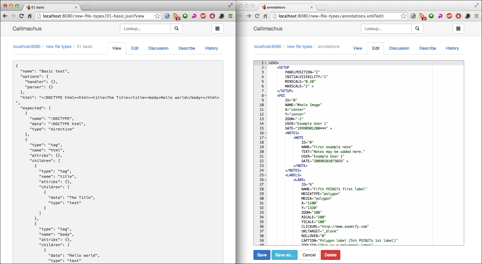 JSON and XML in Callimachus